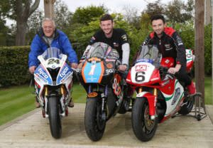 PACEMAKER, BELFAST, 11/10/2016: Sunflower trophy race sponsor Jim Finlay pictured with David Haire and Glenn Irwin at the launch of the Sunflower trophy races today. Haire will race 450cc and 650cc Kawasakis in Ryan Farquhar's SGS/KMR livery and Irwin will ride the Be Wiser/PBM Ducati he races in the British Superbike championship at the Bishopscourt meeting on October 21-22. PICTURE BY STEPHEN DAVISON