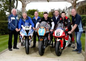 PACEMAKER, BELFAST, 11/10/2016: Sunflower trophy race sponsors Hector Neill, Jim Finlay, Chris Farr and David Clarke pictured with David Haire and Glenn Irwin and Hillsborough Chairman, Greg Wilson at the launch of the Sunflower trophy races today. Haire will race 450cc and 650cc Kawasakis in Ryan Farquhar's SGS/KMR livery and Irwin will ride the Be Wiser/PBM Ducati he races in the British Superbike championship at the Bishopscourt meeting on October 21-22. PICTURE BY STEPHEN DAVISON