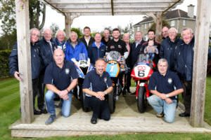 PACEMAKER, BELFAST, 11/10/2016: Sunflower trophy race sponsors Hector Neill, Jim Finlay, Chris Farr and David Clarke pictured with David Haire and Glenn Irwin and Hillsborough Chairman, Greg Wilson and club members at the launch of the Sunflower trophy races today. Haire will race 450cc and 650cc Kawasakis in Ryan Farquhar's SGS/KMR livery and Irwin will ride the Be Wiser/PBM Ducati he races in the British Superbike championship at the Bishopscourt meeting on October 21-22. PICTURE BY STEPHEN DAVISON