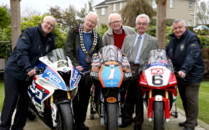 PACEMAKER, BELFAST, 11/10/2016: MCUI officials Denis Wilson, Ken Turner, Jim Cray, David McCallister and Charlie Jones at the launch of the Sunflower trophy races today.  PICTURE BY STEPHEN DAVISON